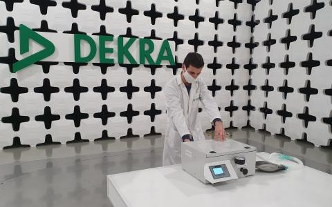 A technician tests 'Andalusia Breath' mechanical ventilator system in DEKRA laboratory in Malaga