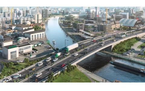 road safety scene bridge crossing a river in a city